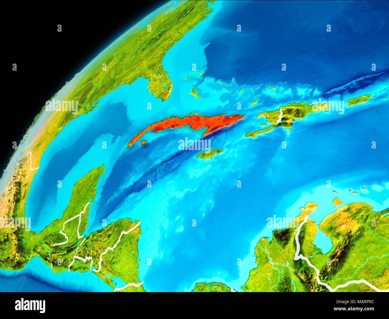 Orbit view of cuba highlighted in red with visible borderlines on orbit view of cuba highlighted in red with visible borderlines on planet earth 3d illustration elements of this image furnished by nasa gumiabroncs Image collections