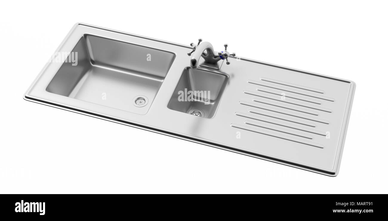 Stainless steel kitchen sink and water tap isolated on white ...