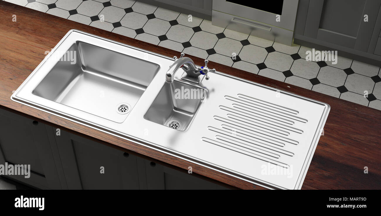Kitchen cabinets with stainless steel sink and water tap, wooden counter, tiled floor, prespective view from above. 3d illustration Stock Photo