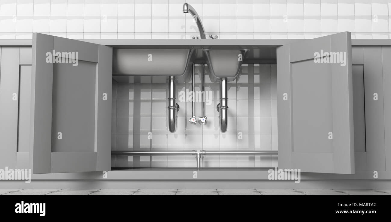 Kitchen Cabinets With Open Doors Stainless Steel Sink And Water Tap Under View White Ceramic Tiles Wall Backgound 3d Illustration