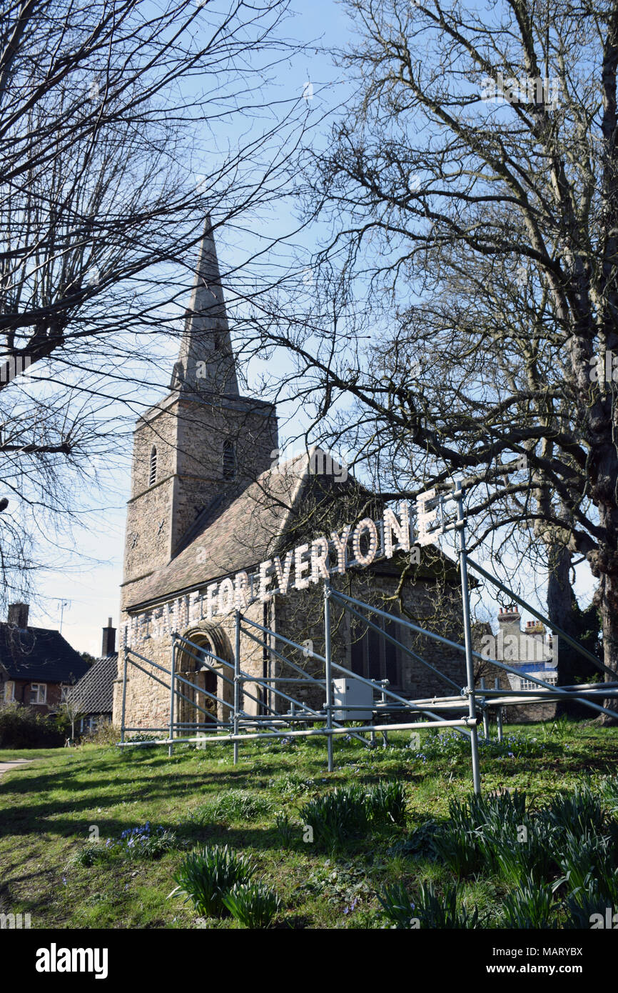 Nathan Coley's 'The Same For Everyone' installation, St Peter's Churchyard, part of Kettle's Yard gallery, Cambridge UK March 2018 - Stock Image