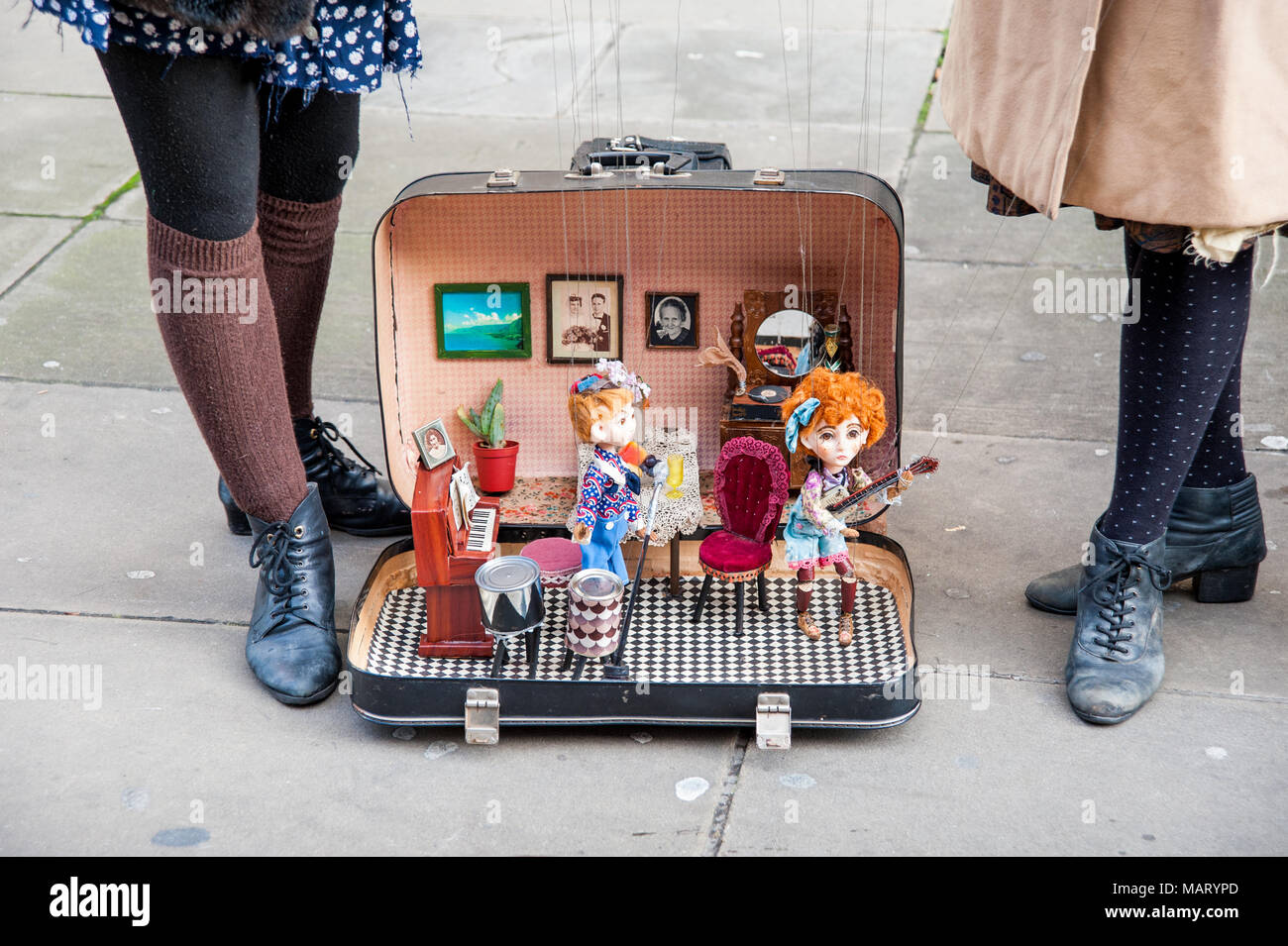 Buskers with marionettes, London, UK - Stock Image