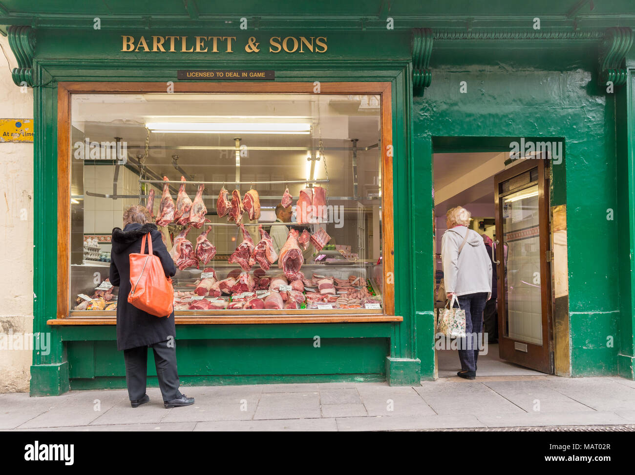 Bartlett & Sons, a traditional butcher sop on the high street in Bath, UK - Stock Image