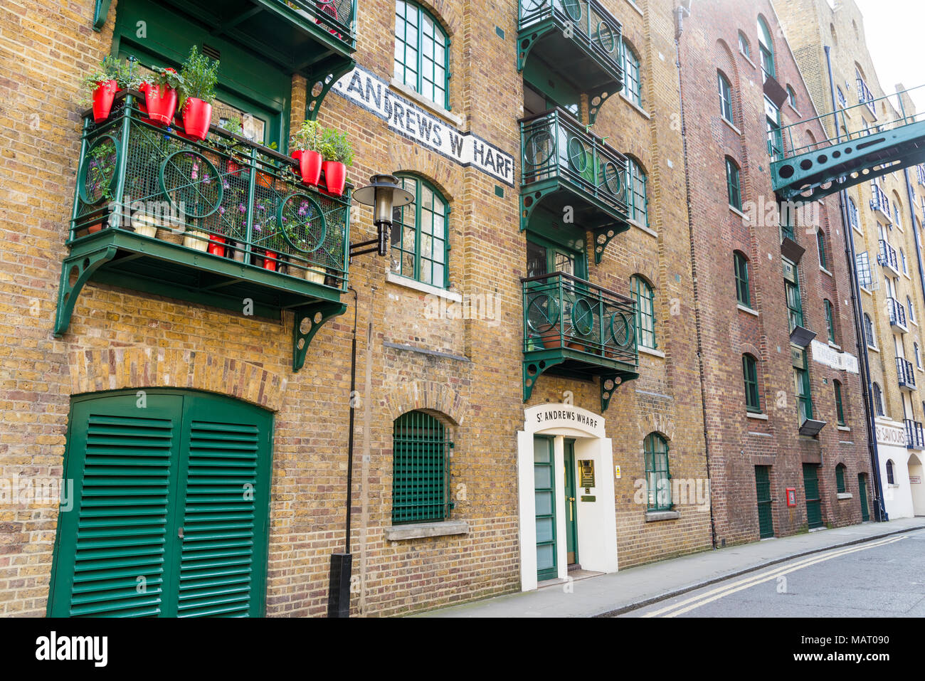 Residential apartments in St Andrews Wharf, Shad Thames, London, UK - Stock Image