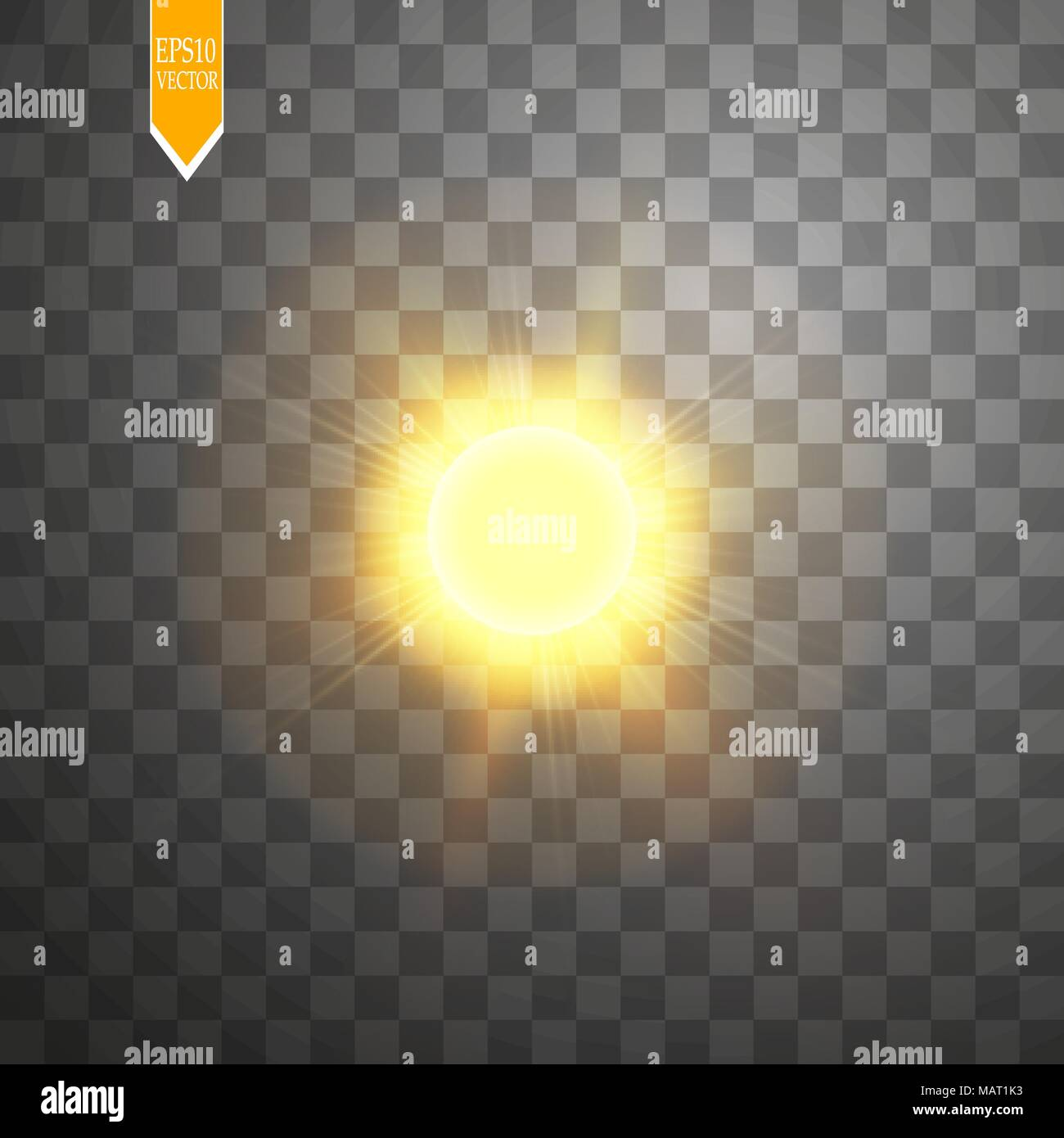 Vector modern sun set on sample background. sunshine design. 3 May International Day of the Sun - Stock Vector