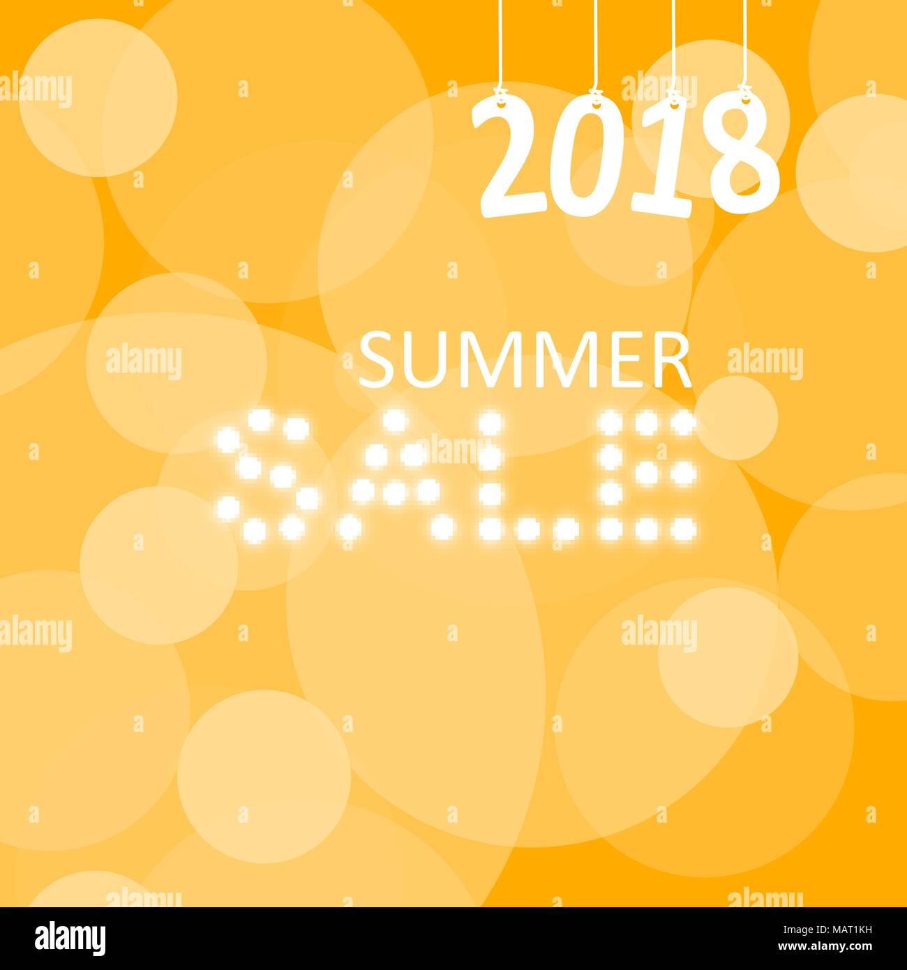 Summer Sale Lettering over Orange Blurred Background. Vector Illustration - Stock Vector