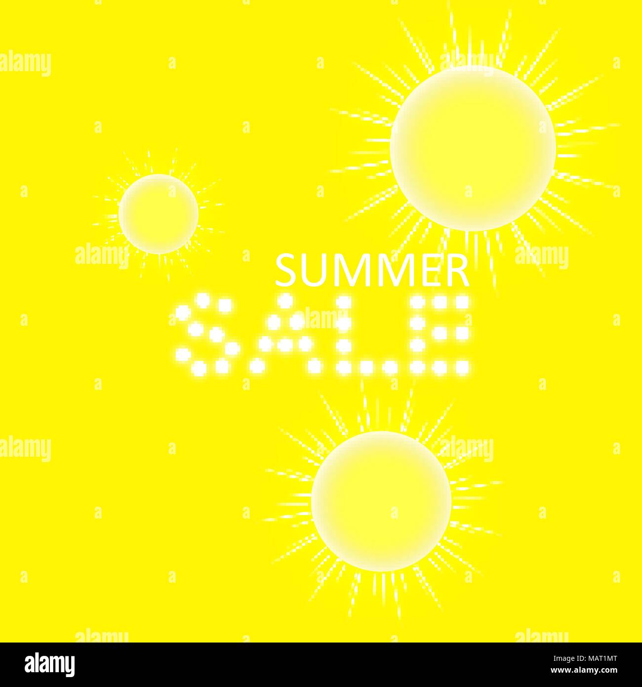 Super summer sale banner with sun on the yellow background. Business seasonal shopping concept, vector - Stock Vector