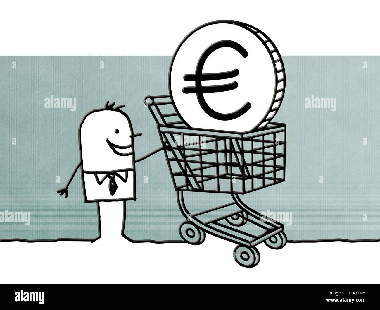 Cartoon Man With Shopping Cart And Euro Sign Stock Photo 178778465
