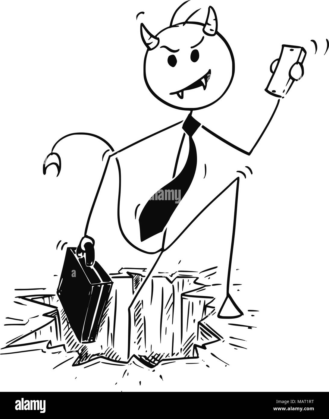 Cartoon of Businessman Devil Coming from Hole in Ground or Hell - Stock Image