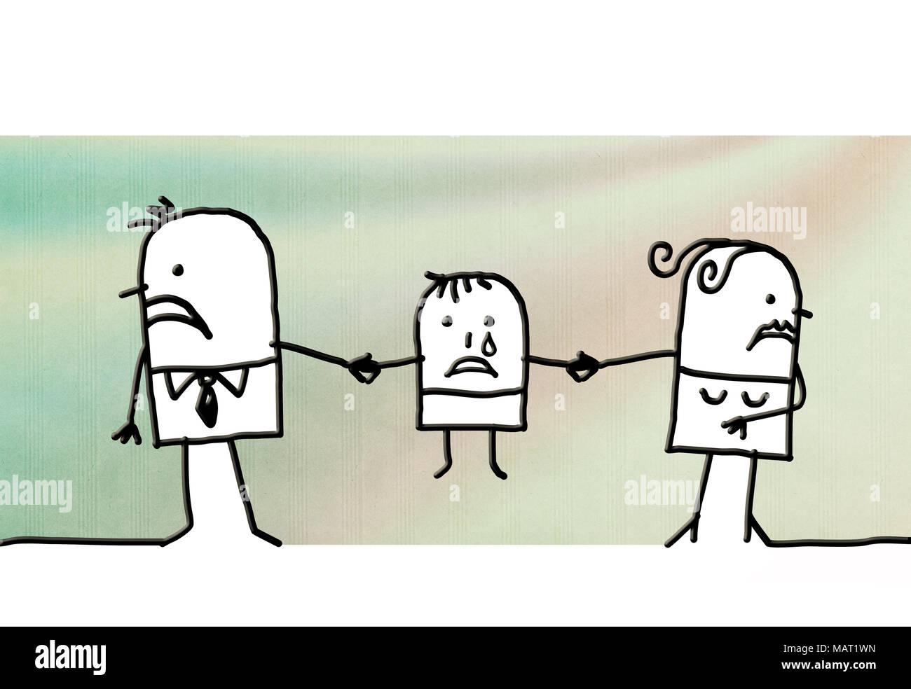 Cartoon Couple Divorcing And Sad Child Stock Photo Alamy