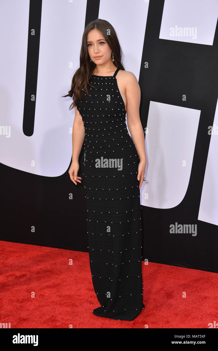 LOS ANGELES, CA. April 03, 2018: Gideon Adlon at the premiere for 'Blockers' at the Regency Village Theatre Picture: Sarah Stewart - Stock Image