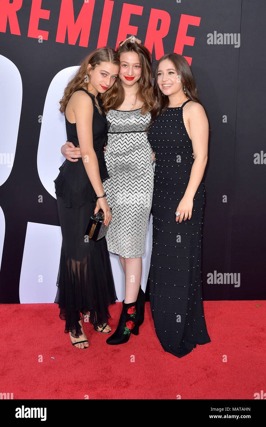 Rockie Adlon, Odessa Adlon and Gideon Adlon attending the 'Blockers' premiere at Regency Village Theater on April 3, 2018 in Los Angeles, California. - Stock Image