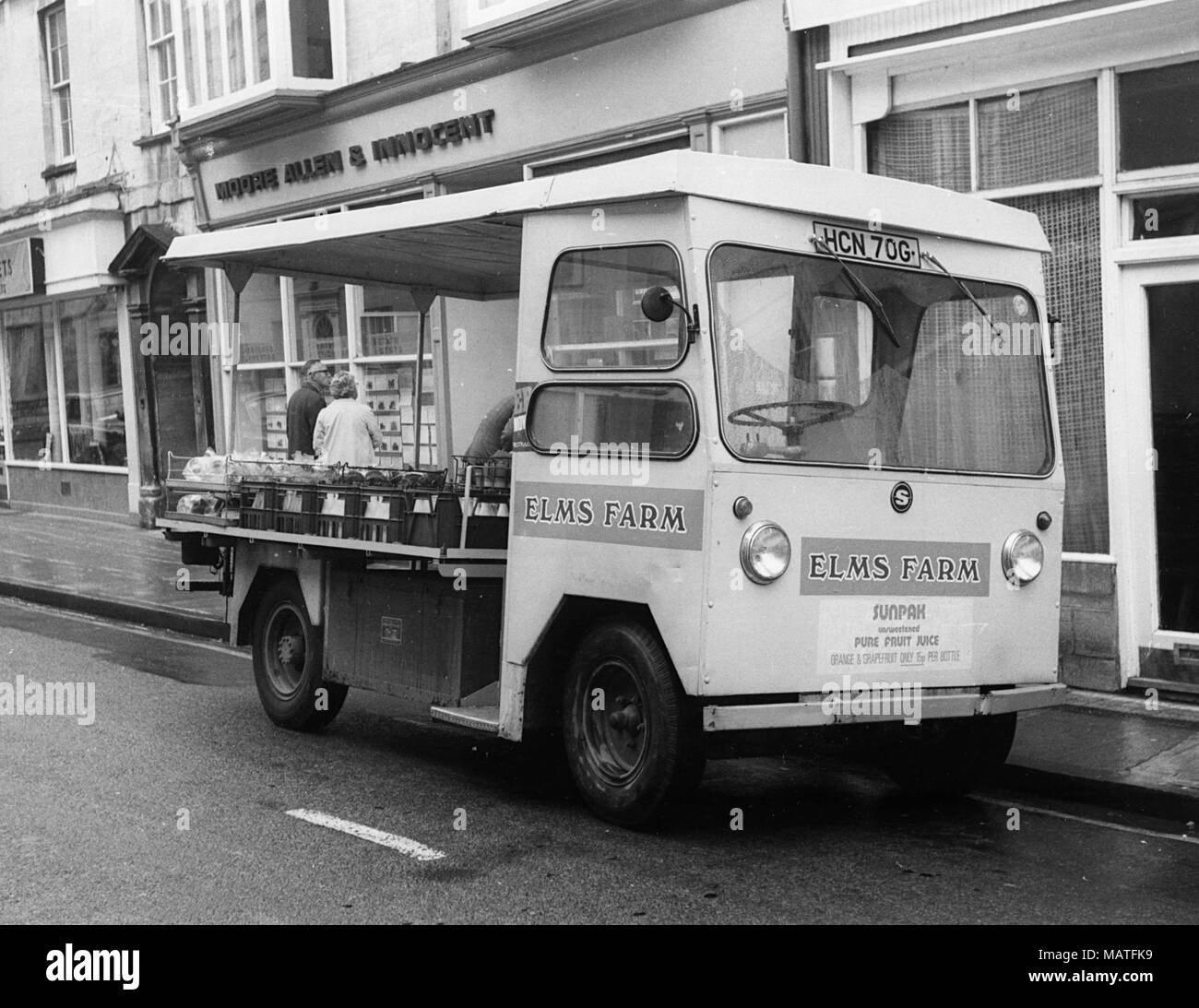1969 Smiths electric delivery van.Cirencester 1973. - Stock Image