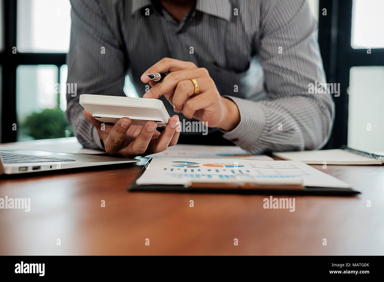 Administrator business man financial inspector and secretary making report calculating balance. Internal Revenue Service checking document. Audit conc - Stock Image