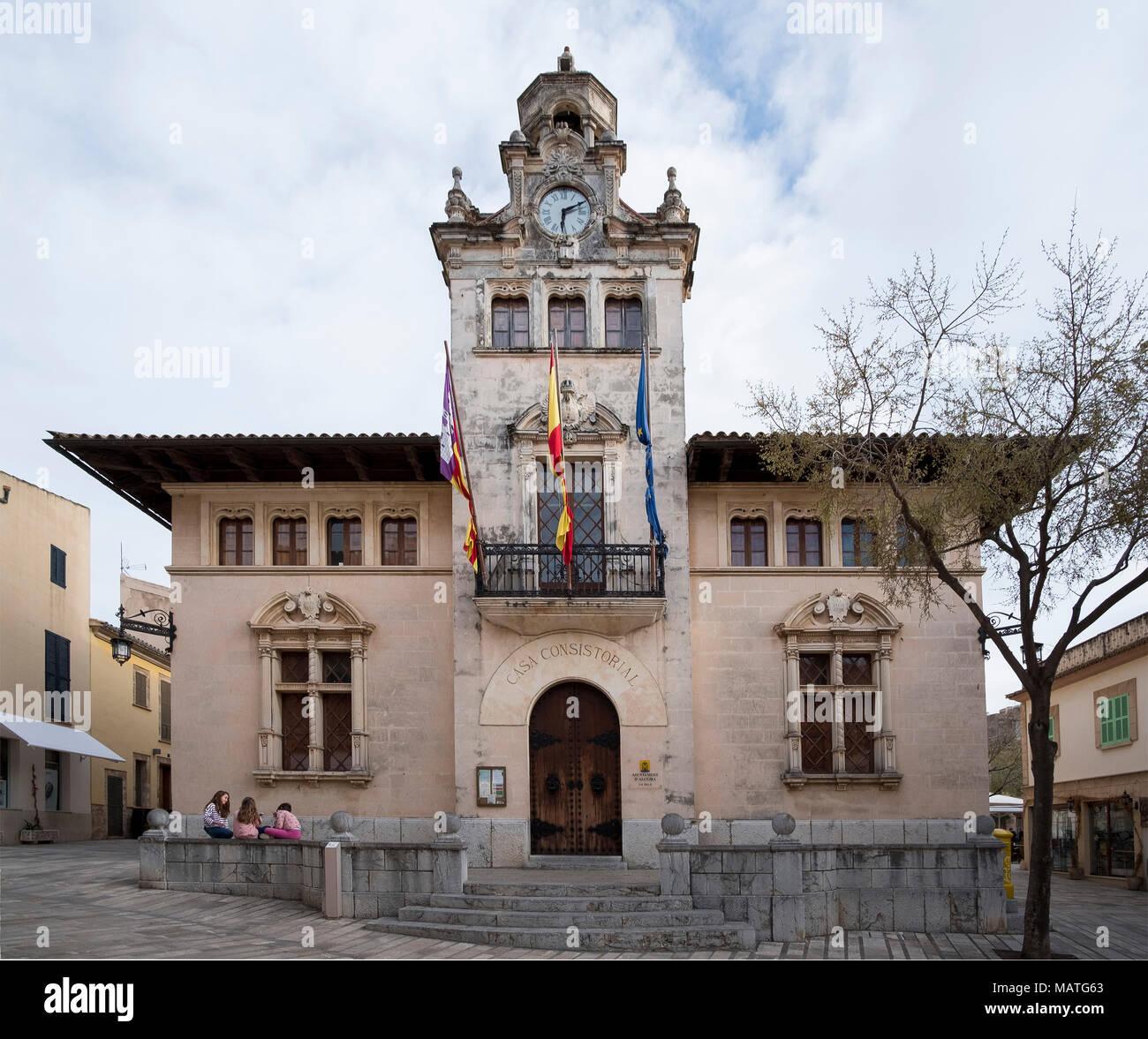Mallorca, Alcudia, Rathaus von 1523 - Stock Image