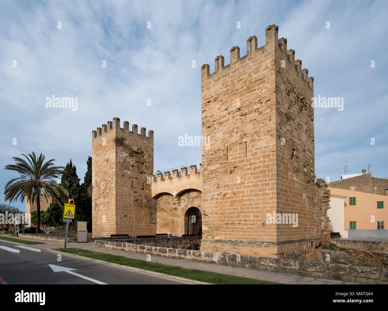 Mallorca, Alcudia, Porta de Sant Sebastia, Feldseite - Stock Image