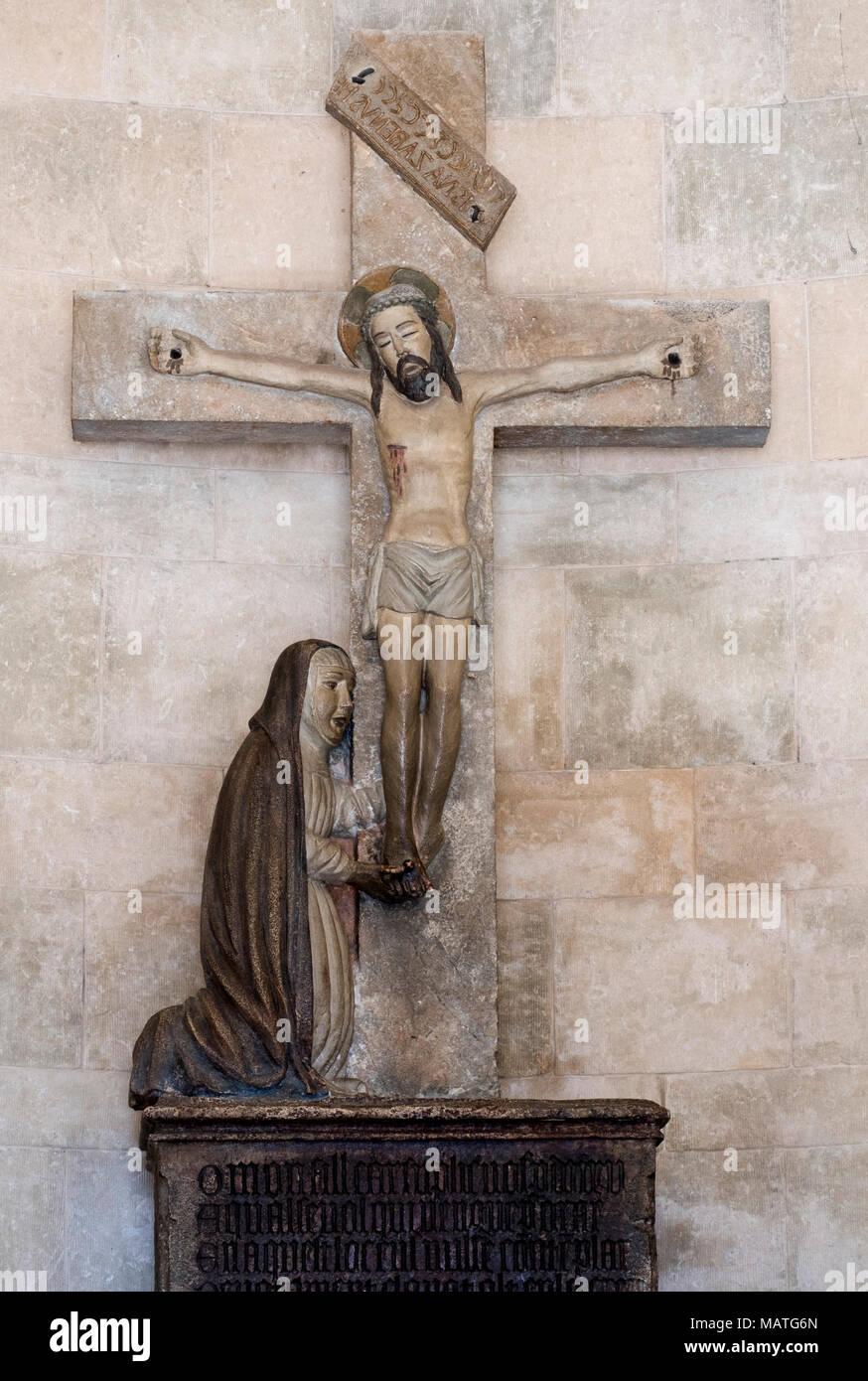 Mallorca, Pollenca, Puig del Calvari, Kalvarienberg, Oratorium, Standbild 'Muttergottes am Fuße des Kreuzes' von 1448 - Stock Image
