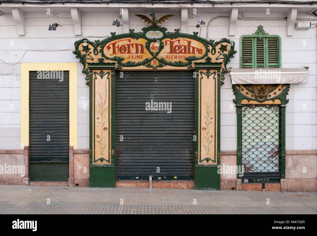 Mallorca, Palma de Mallorca, Placa Mercat, ehemalige Konditorei Forn dos Teatre, Fassade - Stock Image
