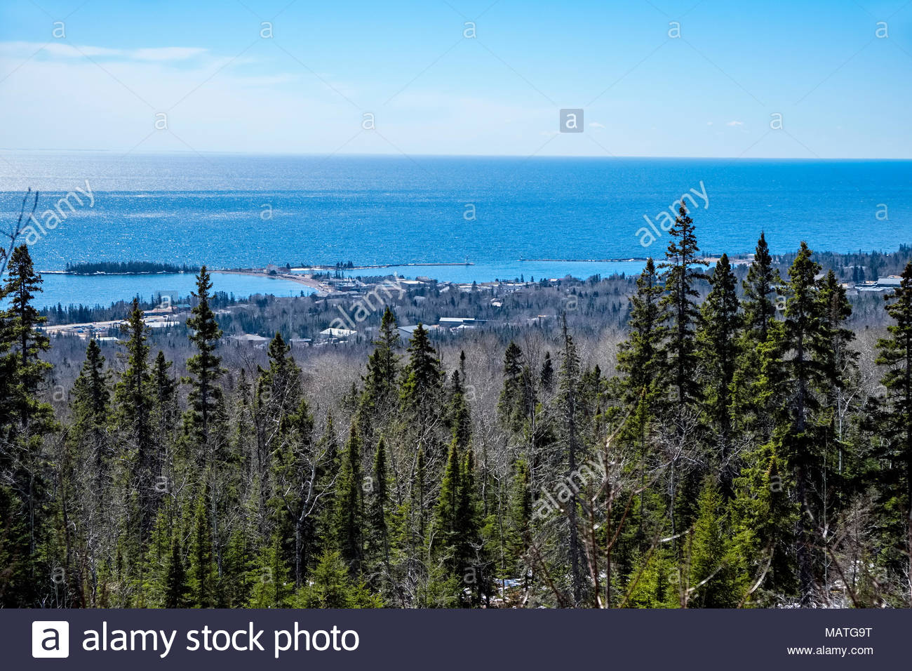 The view of Grand Marais from the trailhead parking area of the Pincushion Mountain Trail System, on the north shore of Lake Superior, Minnesota. - Stock Image