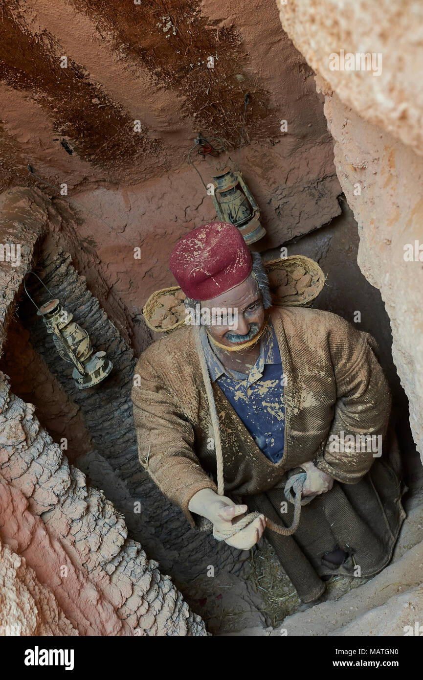 Clay miner mannequin, Guellala museum, Djerba Island Tunisia, North Africa - Stock Image