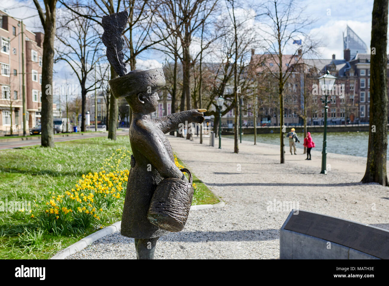 Sculpture of 'Haagse Jantje' at the Hofvijver in the center of The Hague, Netherlands. For Dutch people is Haagse Jantje welknown by a childs's song. - Stock Image