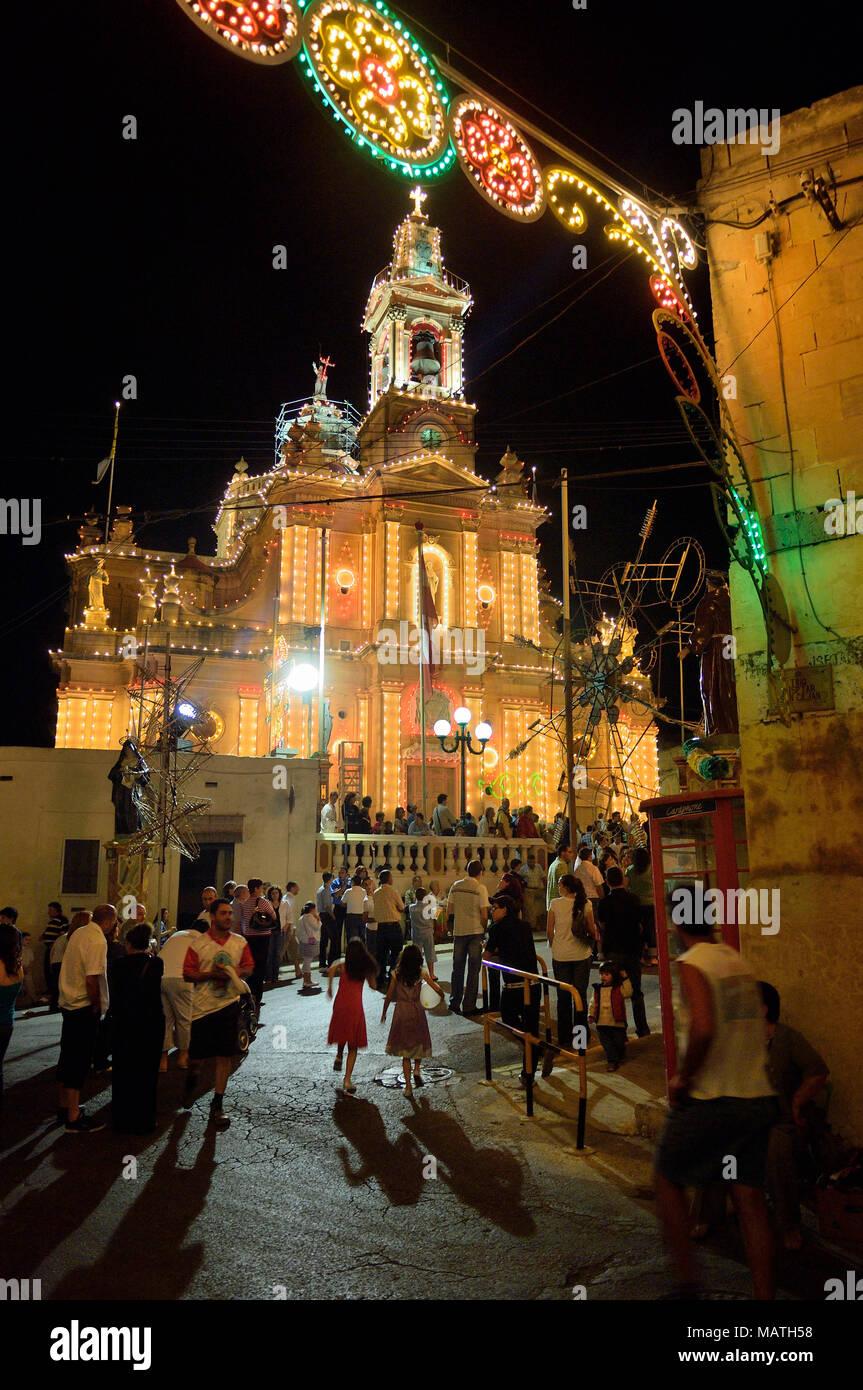 Religious festival in Fontana village Gozo Malta - Stock Image