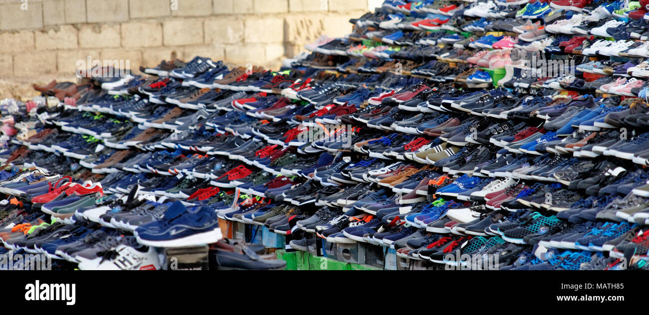 Brand imitation stock photos brand imitation stock images alamy aqaba jordan march 3 2018 large sales stand for shoes in the biocorpaavc Gallery