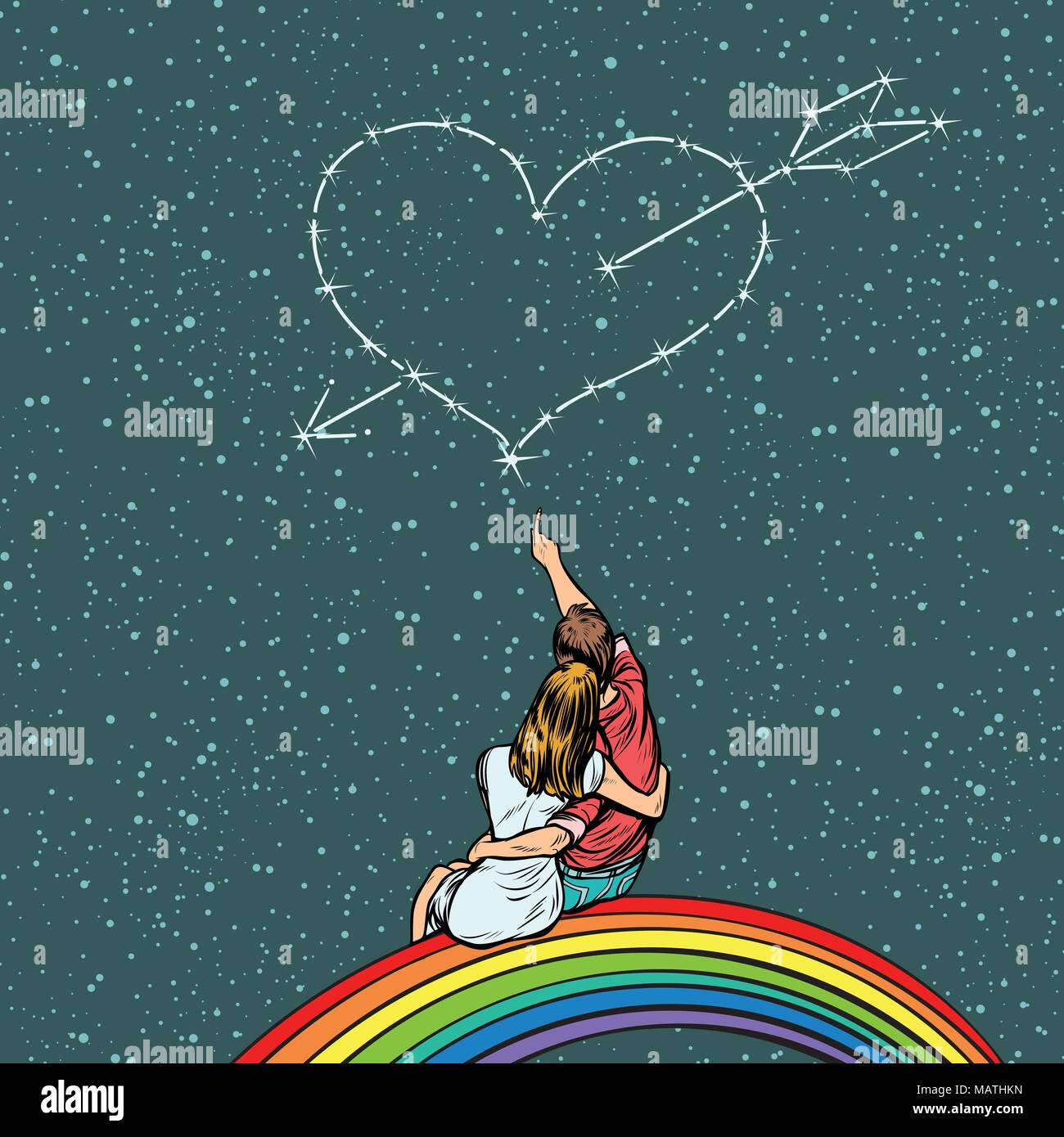 heart pierced by an arrow over a couple in love - Stock Image