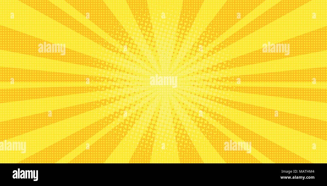 yellow rays background pop art - Stock Image