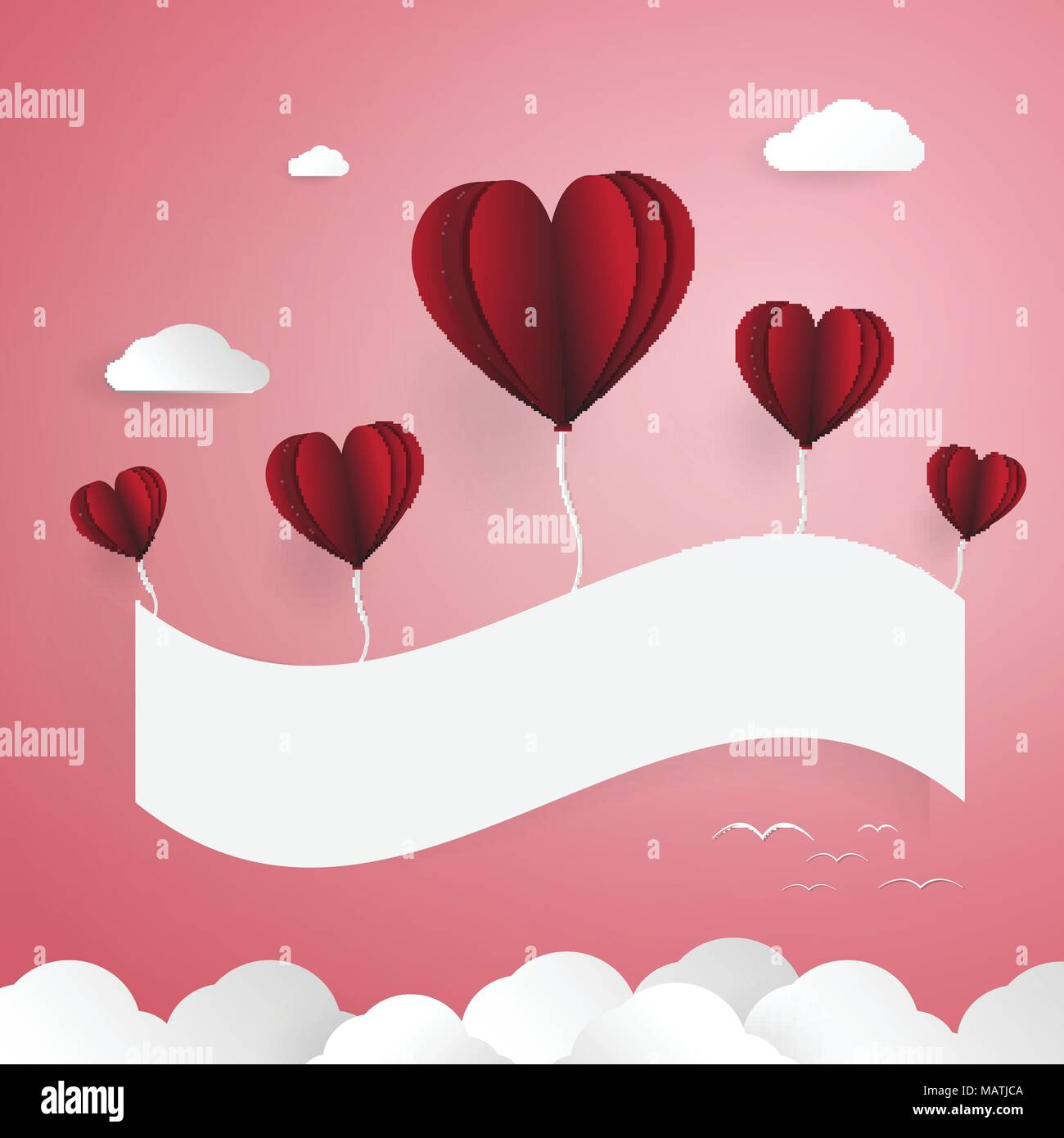 Red Balloons With White Paper Banner Cloud And Birds Elements Love