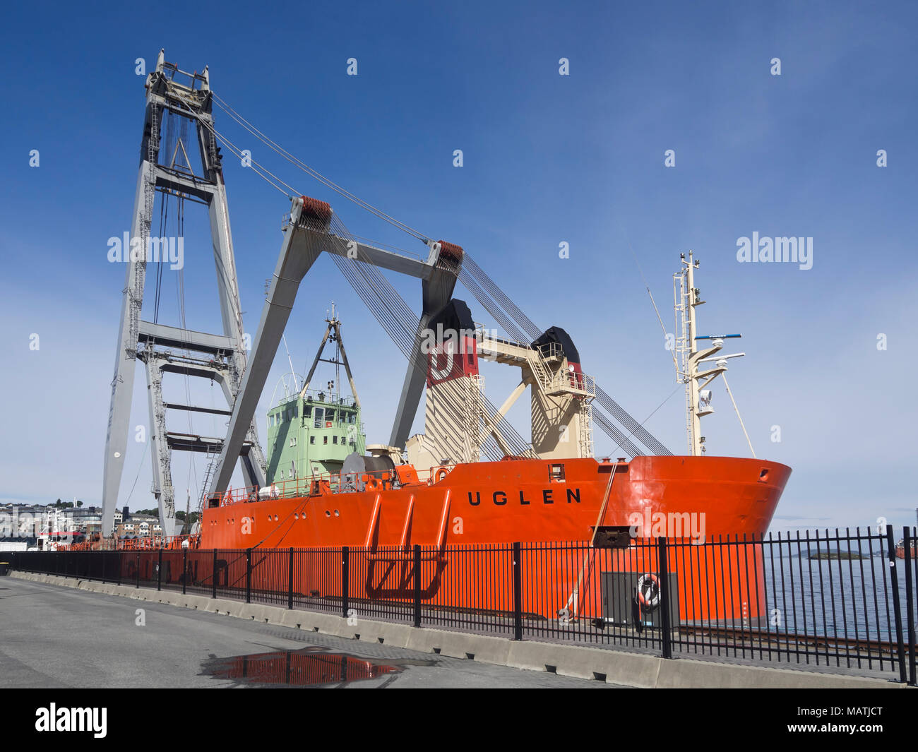 The heavy lift crane vessel UGLEN in the harbor of Stavanger Norway, can lift 800 tonnes, operating mainly in the offshore industry - Stock Image
