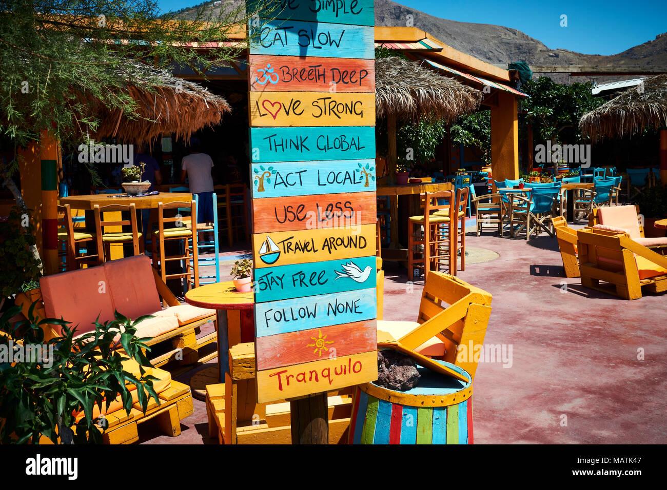 Sign Tranquilo Outdoor Restaurant Bar Perissa Santorini Greece Stock Photo Alamy