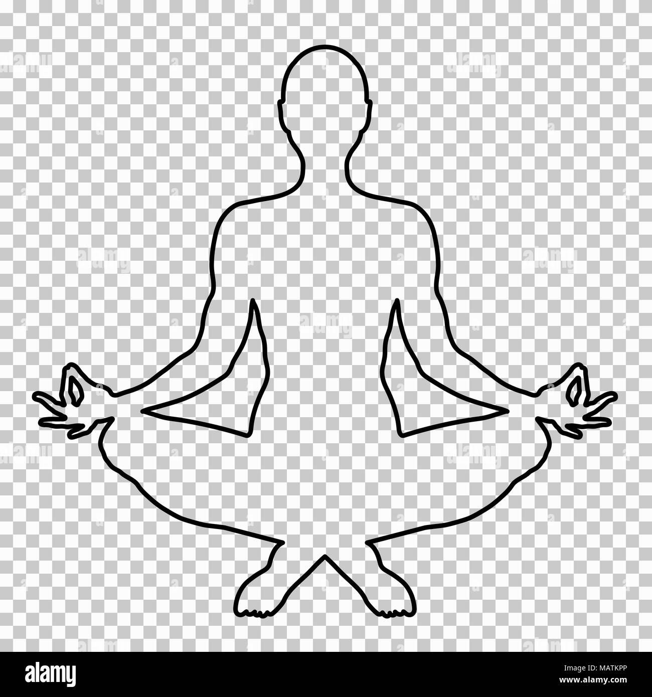 outline figure of a man sitting in lotus pose on a transparent