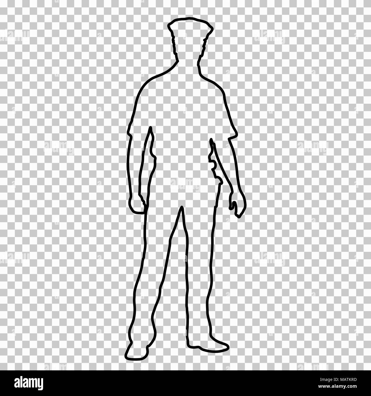 outline figure police man standing front side contour portrait male