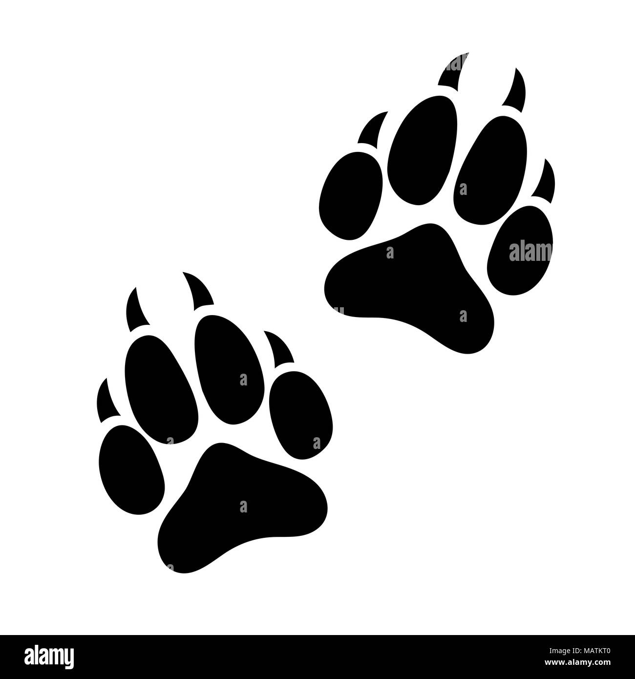 3d23a5401e9d Paw print animal dog or cat clawed, silhouette footprints of an animal,  flat icon, logo, black traces isolated on white background