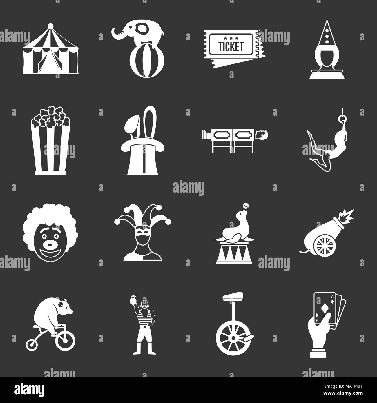 Circus entertainment icons set grey vector - Stock Image