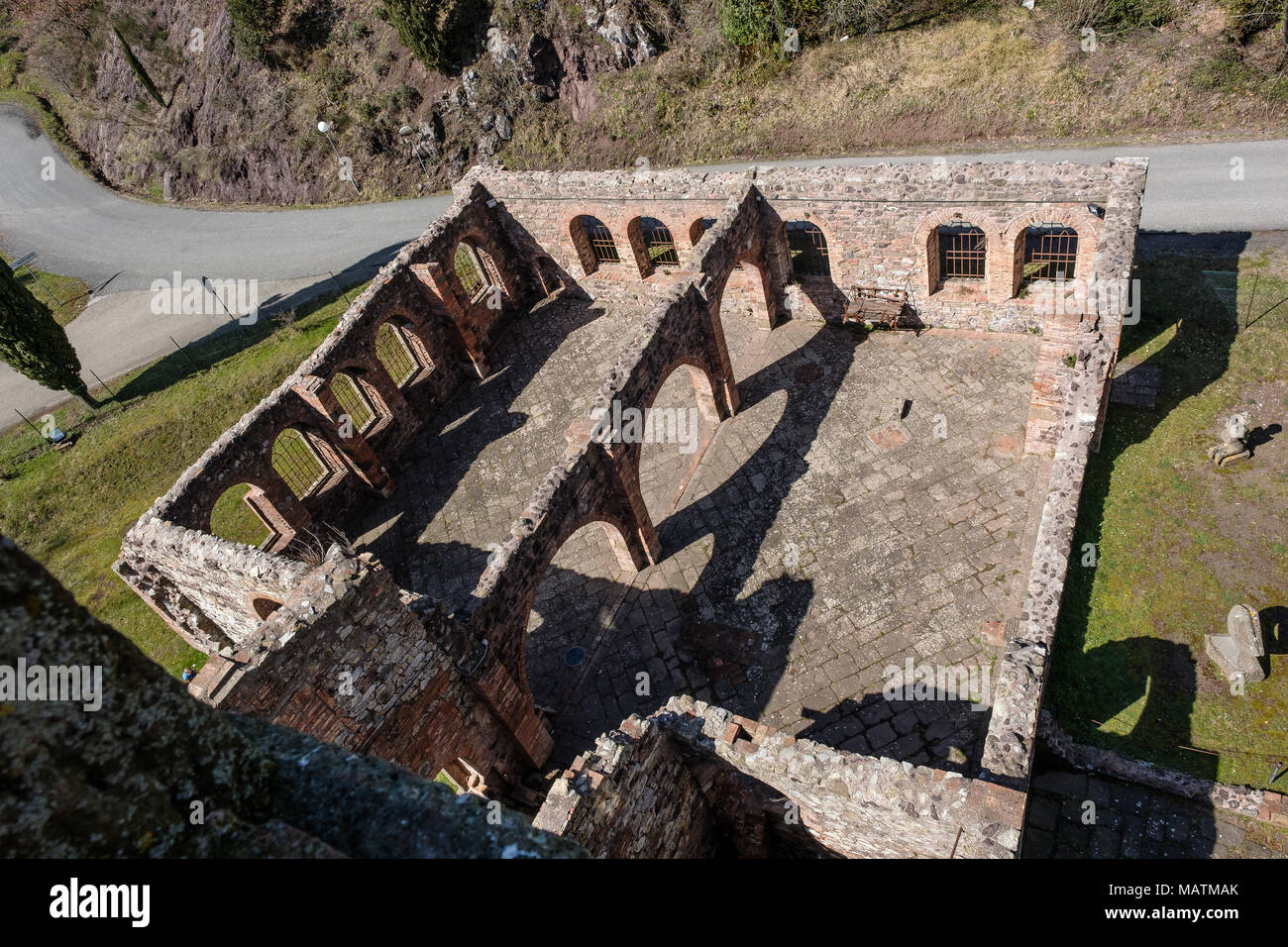 MONTECATINI VAL DI CECINA, ITALY - Avril 02, 2018: Montecatini Val di Cecina is a town in the province of Pisa in Tuscany, Italy - The copper mine - Stock Image