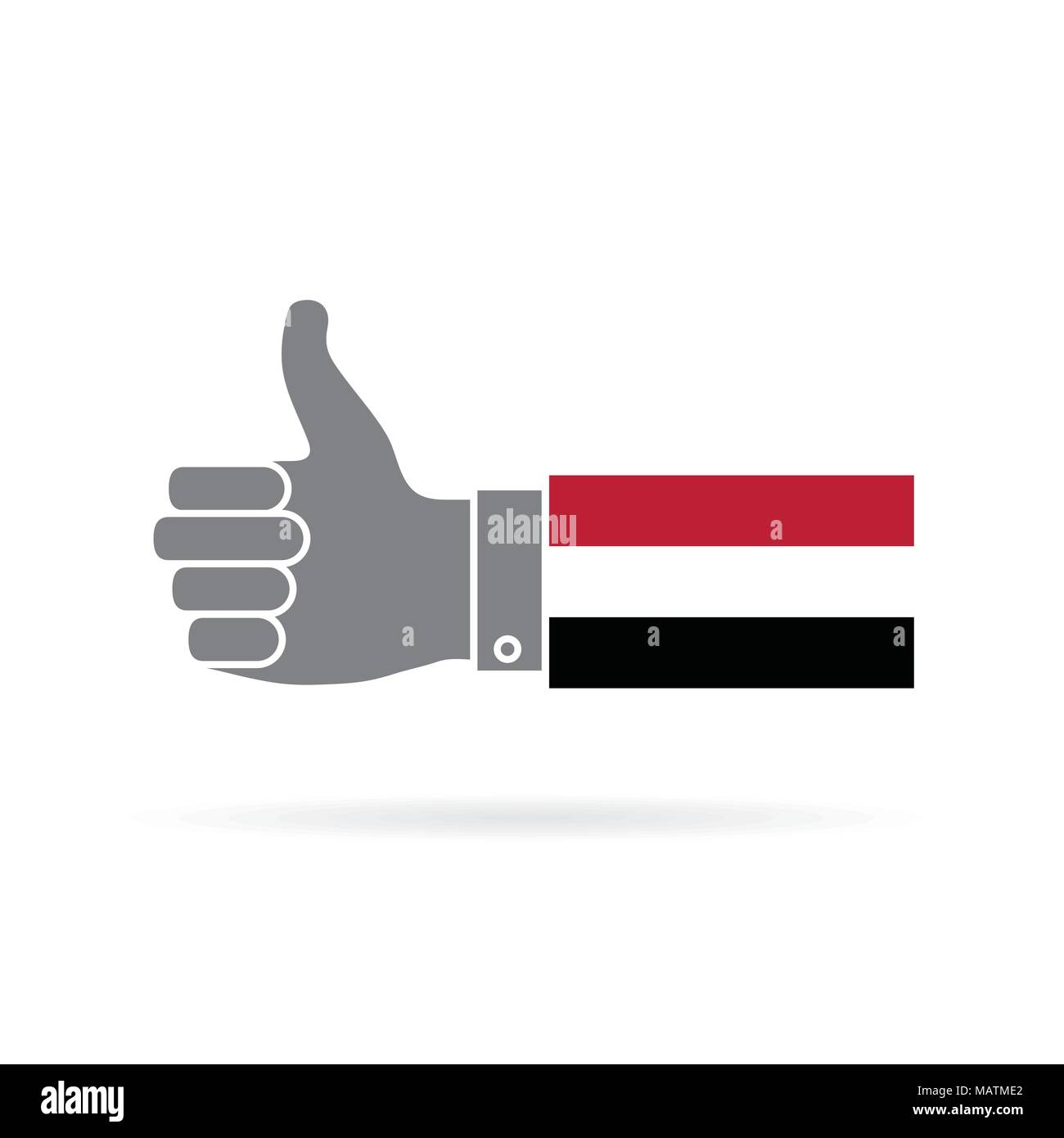 Yemen country flag thumbs up vector icon - Stock Image