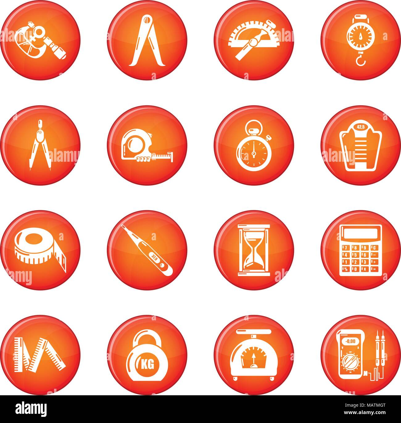 Measure precision icons set red vector - Stock Image