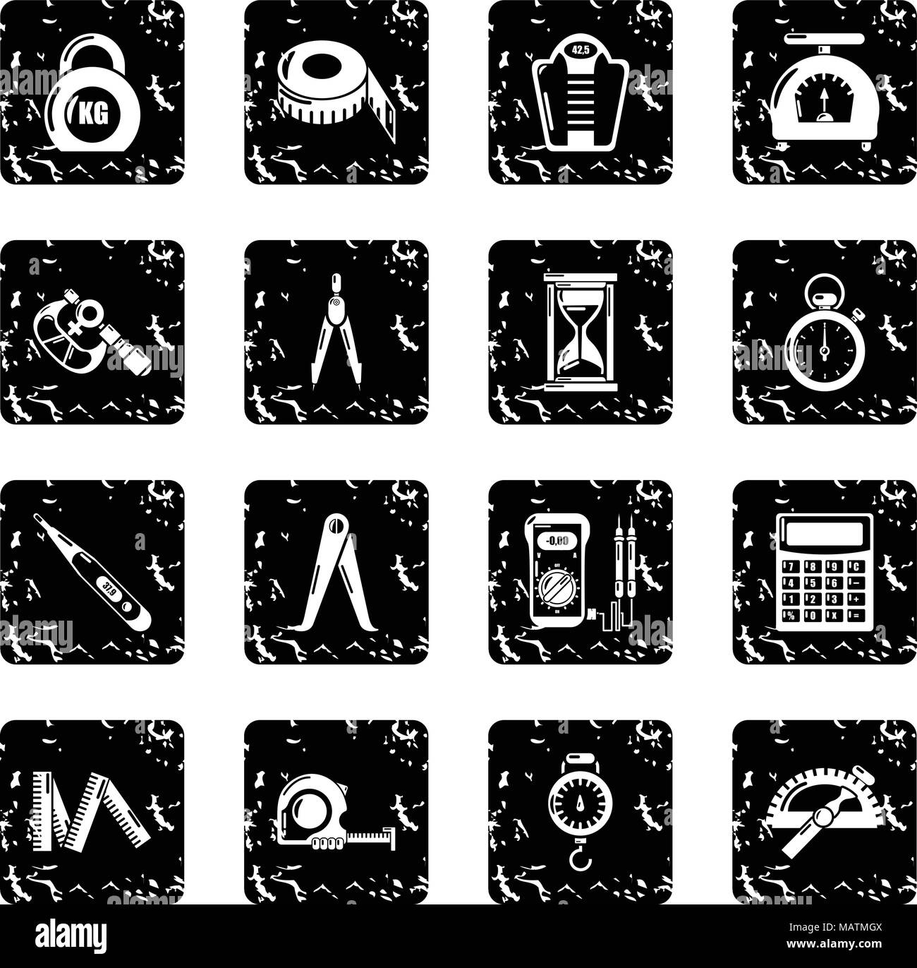 Measure precision icons set grunge vector - Stock Image