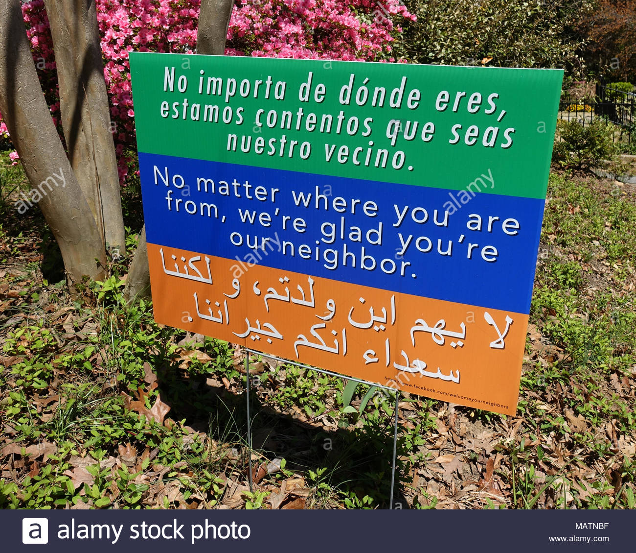 Welcome Your Neighbors Multi-Cultural Yard Sign (Tolerance) Stock Photo