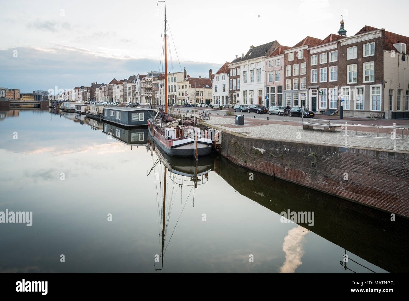 Sunset over the canal in Middelburg, the Netherlands. Stock Photo