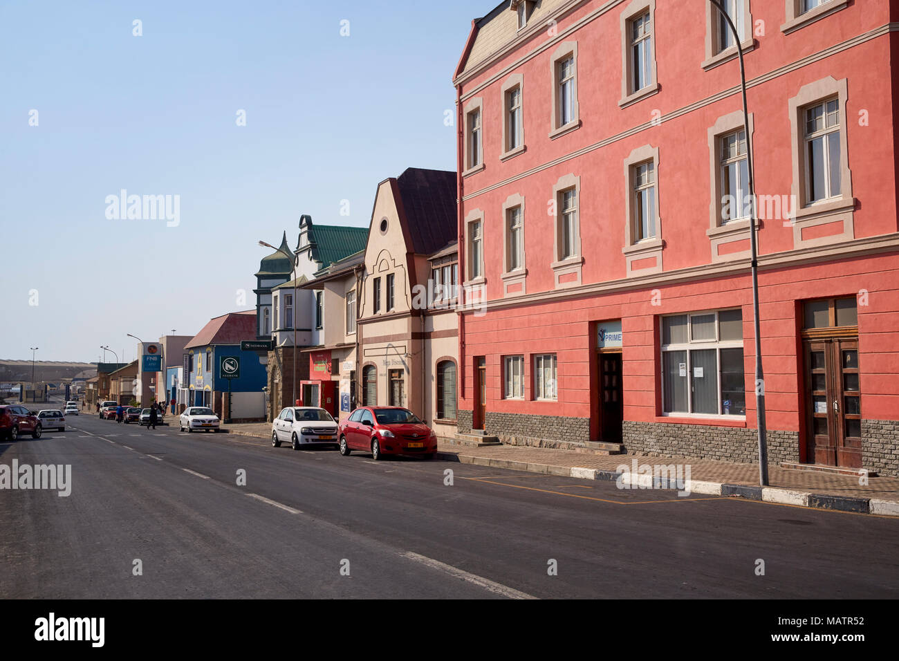 Bismarck street with colonial buildings in Luderitz, Namibia, Africa - Stock Image