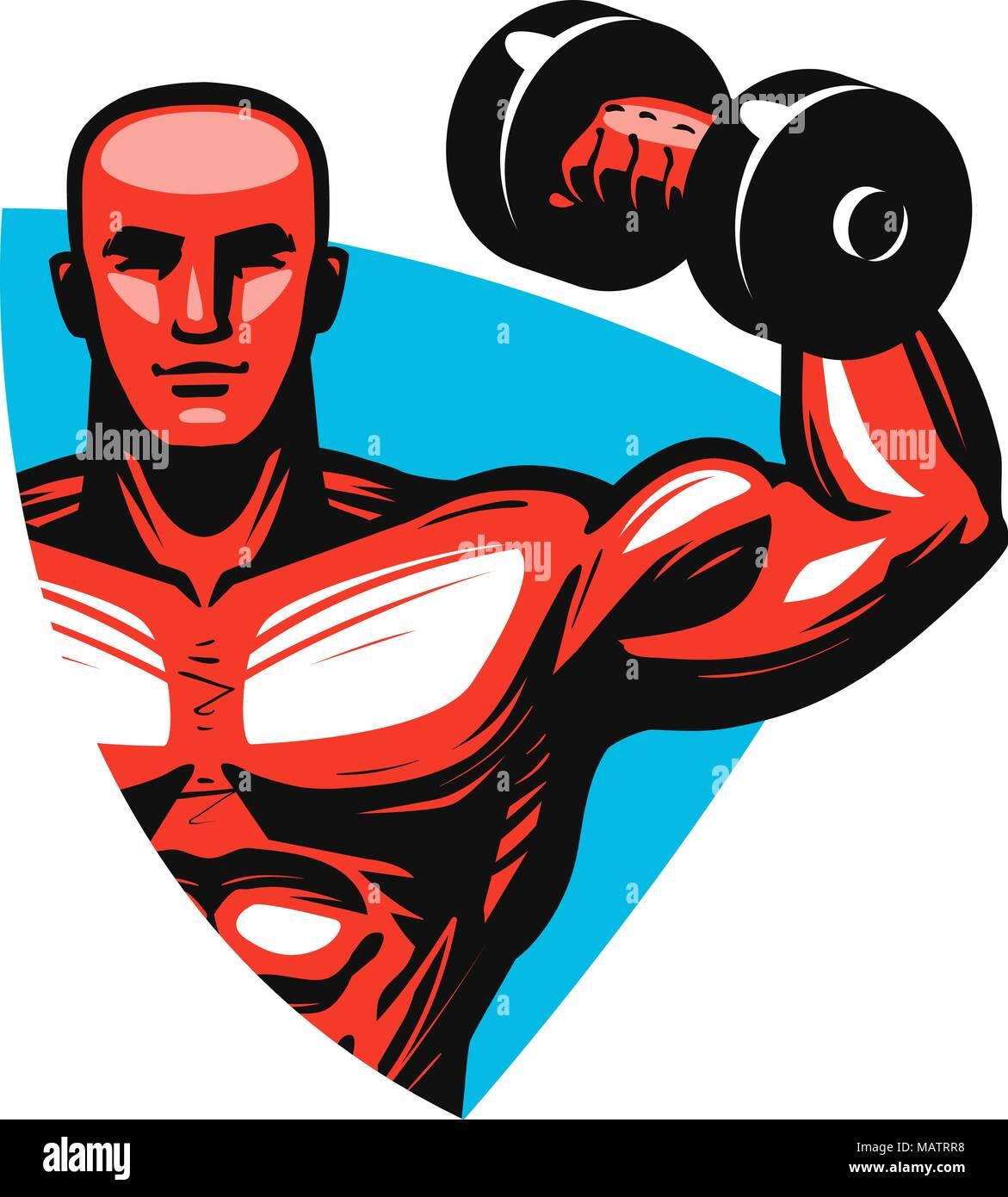 Gym logo or label. Sport concept. Vector illustration - Stock Vector