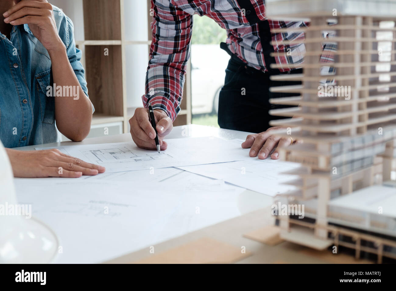 Architect Engineer Design Working on Blueprint Planning Concept. Construction Concept - Stock Image