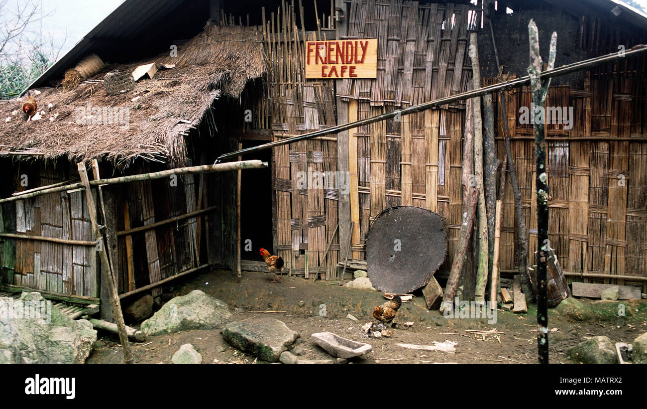 In a small, indigenous H'mong (Hmong) village near Sapa, northwest Vietnam, tourists can eat and drink at the 'Friendly Cafe.' - Stock Image
