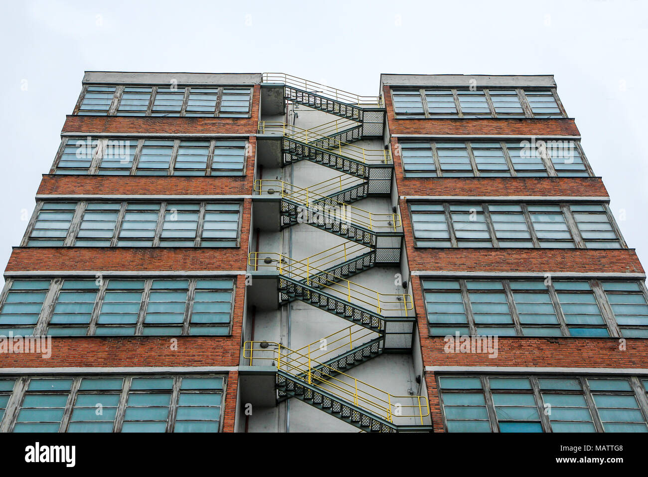 The picture from the old factory, made in functional style. The shapes are strictly geometric and all is submitted to the function. Interesting archit - Stock Image