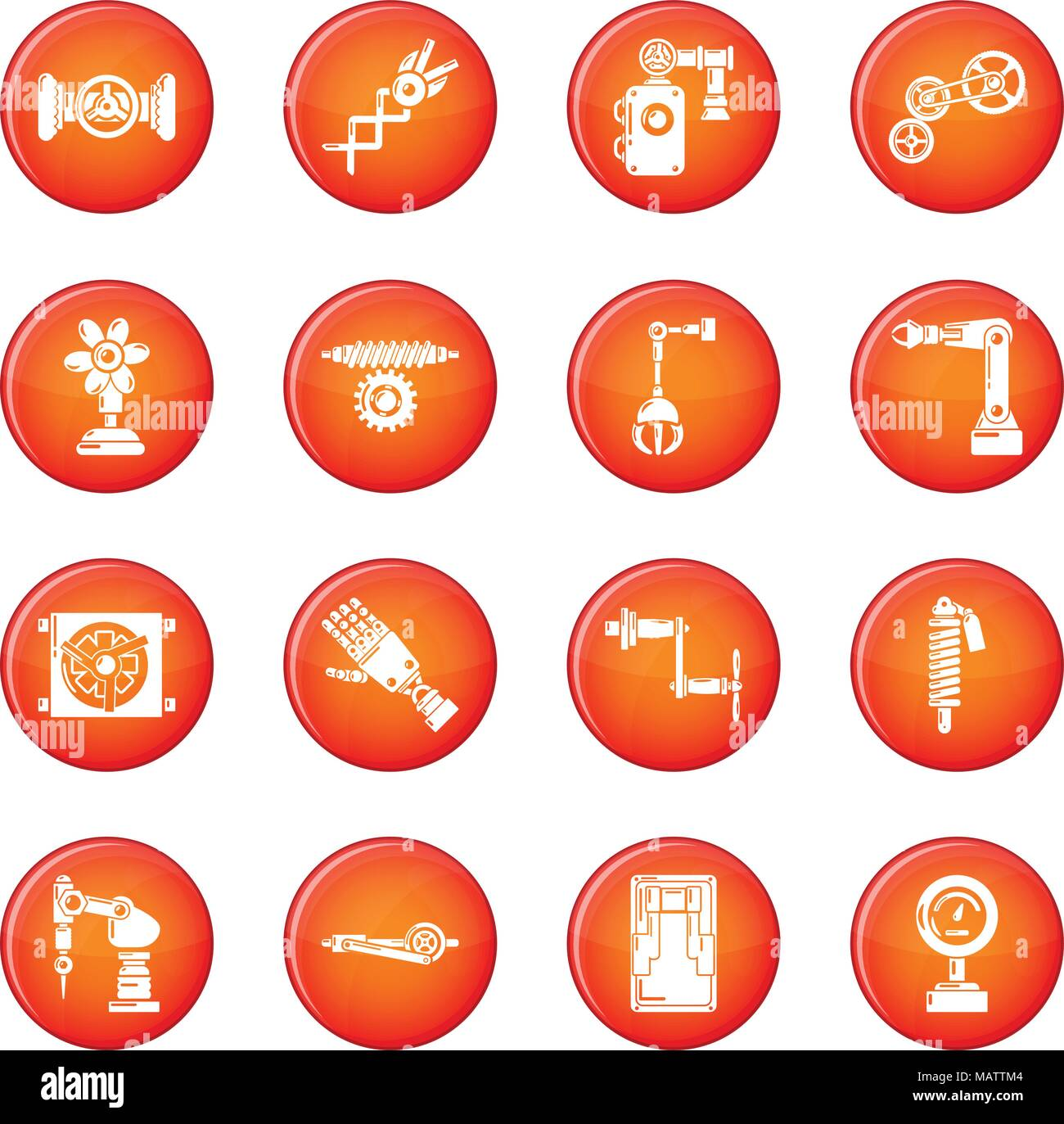 Technical mechanisms icons set red vector - Stock Image
