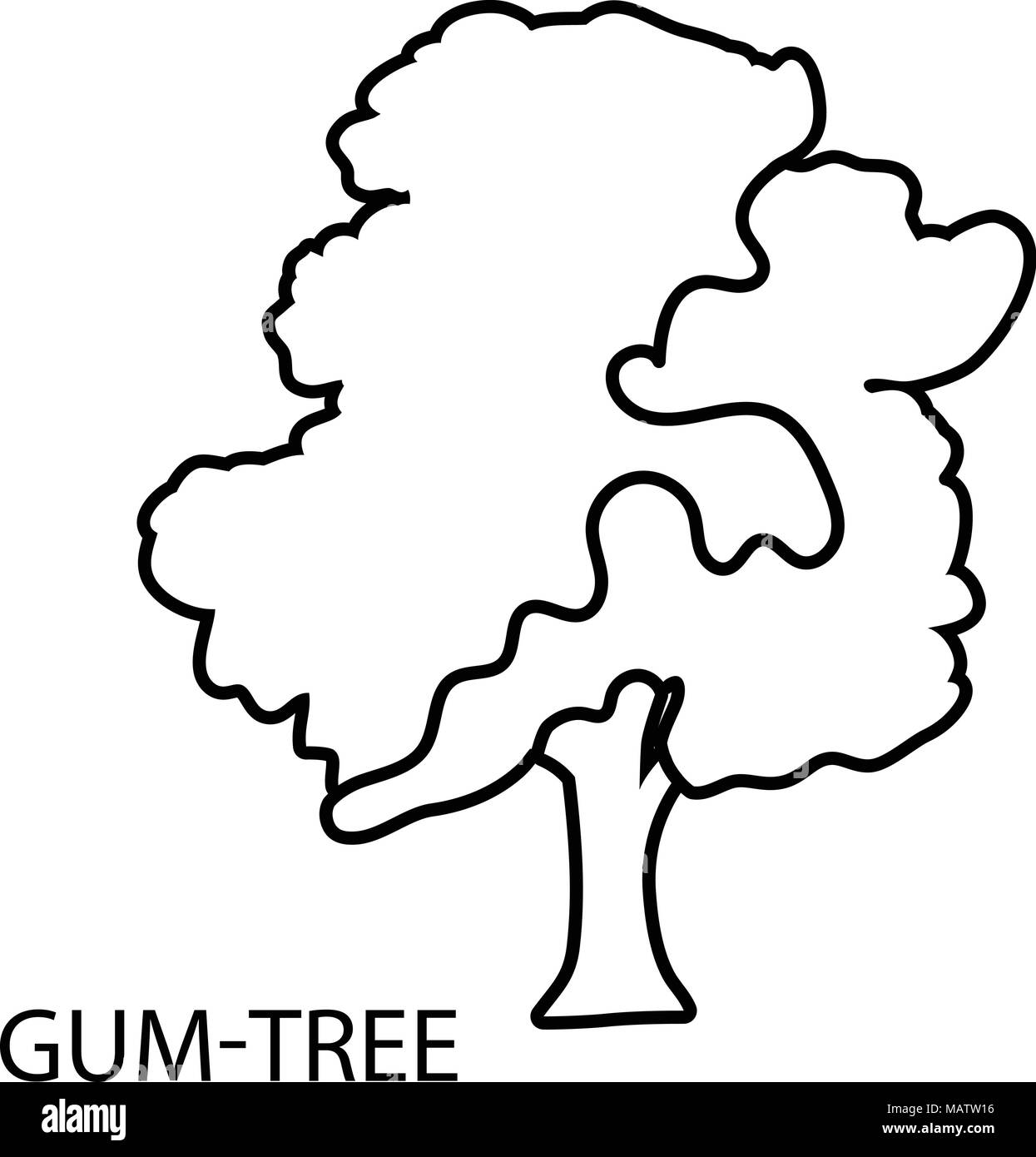 Gum tree icon, outline style Stock Vector
