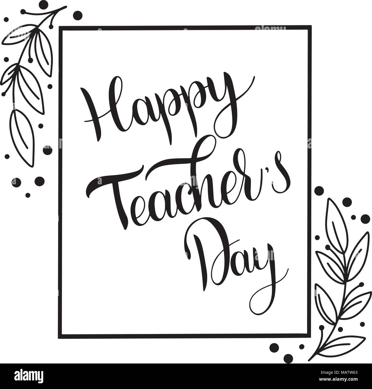 Happy Teacher Day Lettering Elements For Invitations Posters